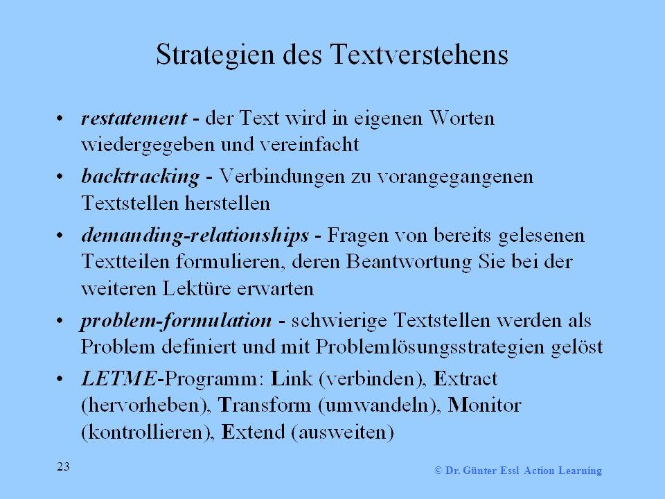 © Dr. Günter Essl Action Learning 23