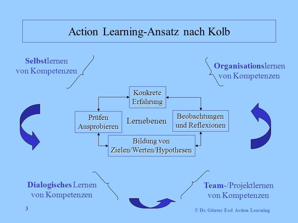 3 Action Learning-Ansatz nach Kolb KonkreteErfahrung Beobachtungen und Reflexionen Bildung von Zielen/Werten/Hypothesen PrüfenAusprobieren Selbstlernen von Kompetenzen Dialogisches Lernen von Kompetenzen Team-/Projektlernen von Kompetenzen Organisationslernen von Kompetenzen Lernebenen