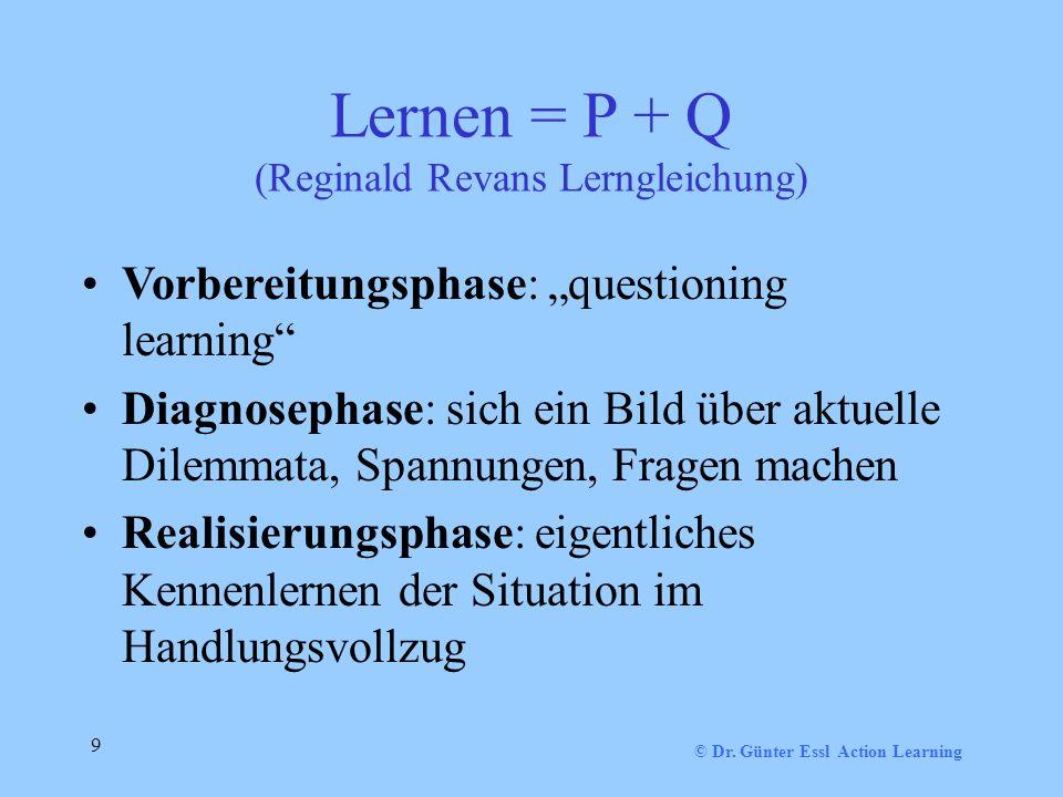 9 Lernen = P + Q (Reginald Revans Lerngleichung) Vorbereitungsphase: questioning learning Diagnosephase: sich ein Bild über aktuelle Dilemmata, Spannungen, Fragen machen Realisierungsphase: eigentliches Kennenlernen der Situation im Handlungsvollzug
