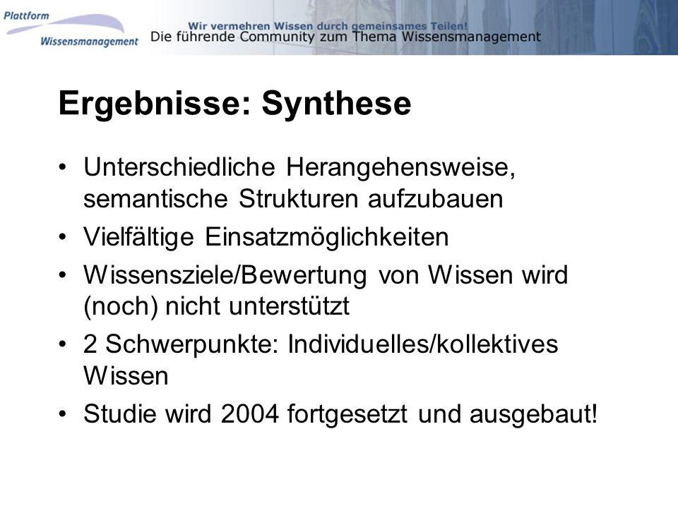 Ergebnisse: Synthese Unterschiedliche Herangehensweise, semantische Strukturen aufzubauen Vielfältige Einsatzmöglichkeiten Wissensziele/Bewertung von