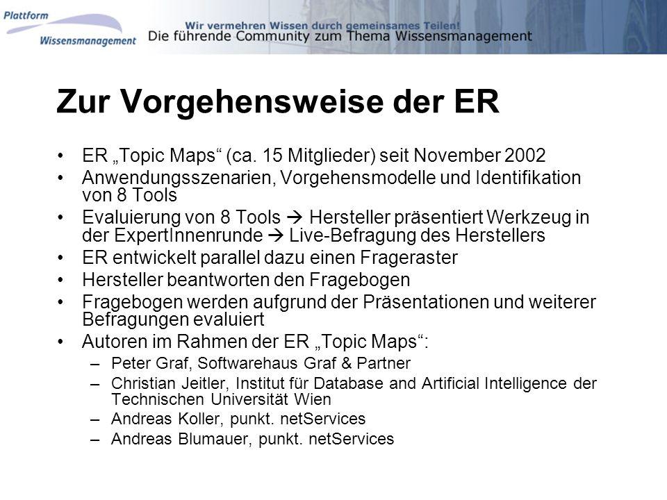 Zur Vorgehensweise der ER ER Topic Maps (ca. 15 Mitglieder) seit November 2002 Anwendungsszenarien, Vorgehensmodelle und Identifikation von 8 Tools Ev