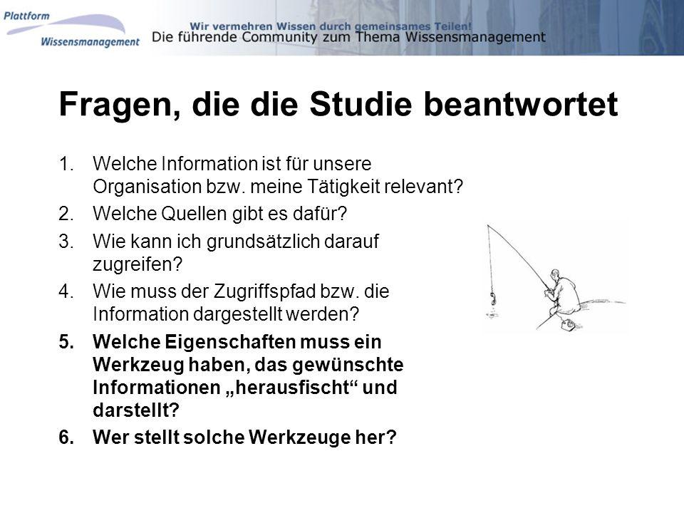 Fragen, die die Studie beantwortet 1.Welche Information ist für unsere Organisation bzw. meine Tätigkeit relevant? 2.Welche Quellen gibt es dafür? 3.W