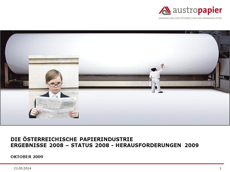 21.05.2014 1 DIE ÖSTERREICHISCHE PAPIERINDUSTRIE ERGEBNISSE 2008 – STATUS 2008 - HERAUSFORDERUNGEN 2009 OKTOBER 2009