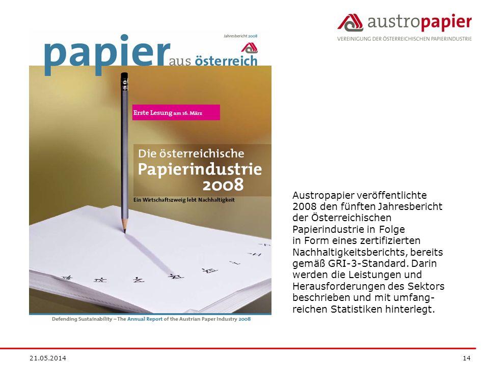 21.05.2014 14 Austropapier veröffentlichte 2008 den fünften Jahresbericht der Österreichischen Papierindustrie in Folge in Form eines zertifizierten Nachhaltigkeitsberichts, bereits gemäß GRI-3-Standard.