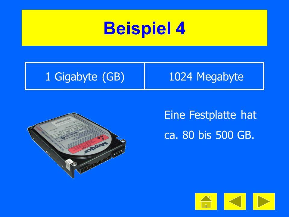 Beispiel 4 1 Gigabyte (GB) 1024 Megabyte Eine Festplatte hat ca. 80 bis 500 GB.