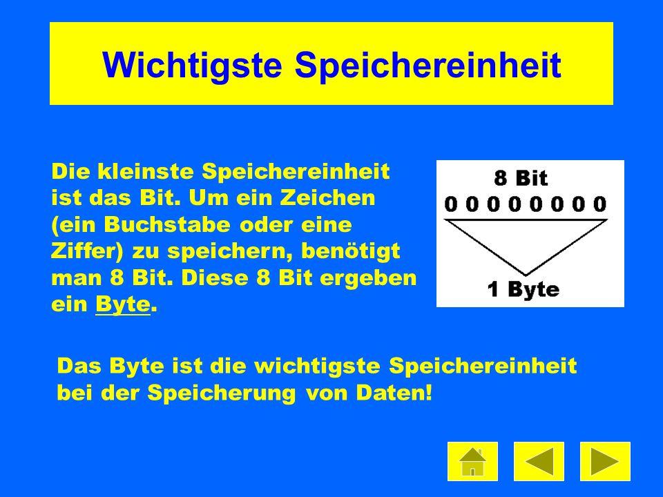 Wichtigste Speichereinheit Die kleinste Speichereinheit ist das Bit. Um ein Zeichen (ein Buchstabe oder eine Ziffer) zu speichern, benötigt man 8 Bit.