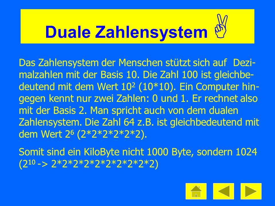 Duale Zahlensystem Das Zahlensystem der Menschen stützt sich auf Dezi- malzahlen mit der Basis 10. Die Zahl 100 ist gleichbe- deutend mit dem Wert 10