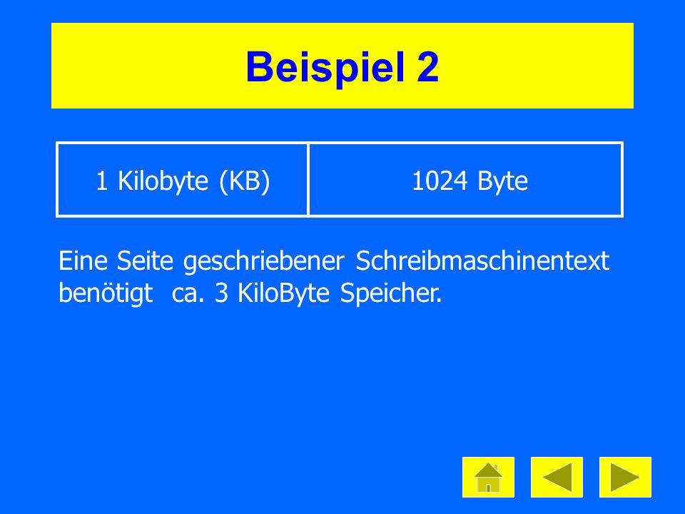 1 Megabyte (MB) 1024 Kilobyte Beispiel 3 Eine Diskette erfasst 1,44 MB Auf eine Zipdiskette passen ca.