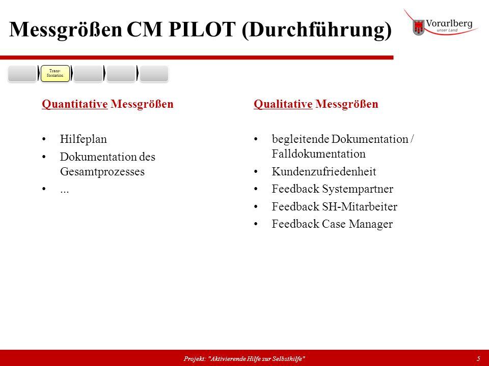 Messgrößen CM PILOT (Durchführung) Quantitative Messgrößen Hilfeplan Dokumentation des Gesamtprozesses... Qualitative Messgrößen begleitende Dokumenta