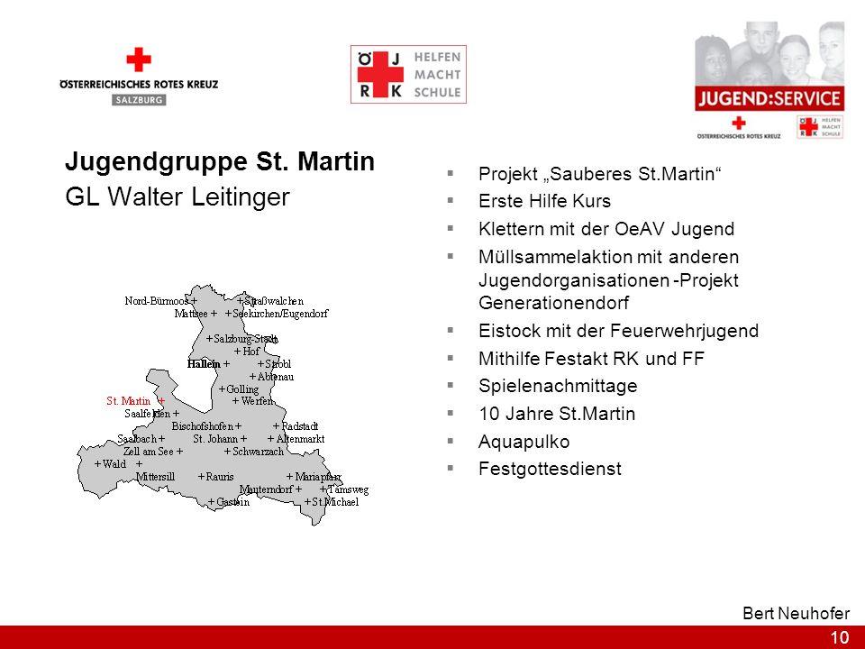 10 Bert Neuhofer Jugendgruppe St. Martin GL Walter Leitinger Projekt Sauberes St.Martin Erste Hilfe Kurs Klettern mit der OeAV Jugend Müllsammelaktion
