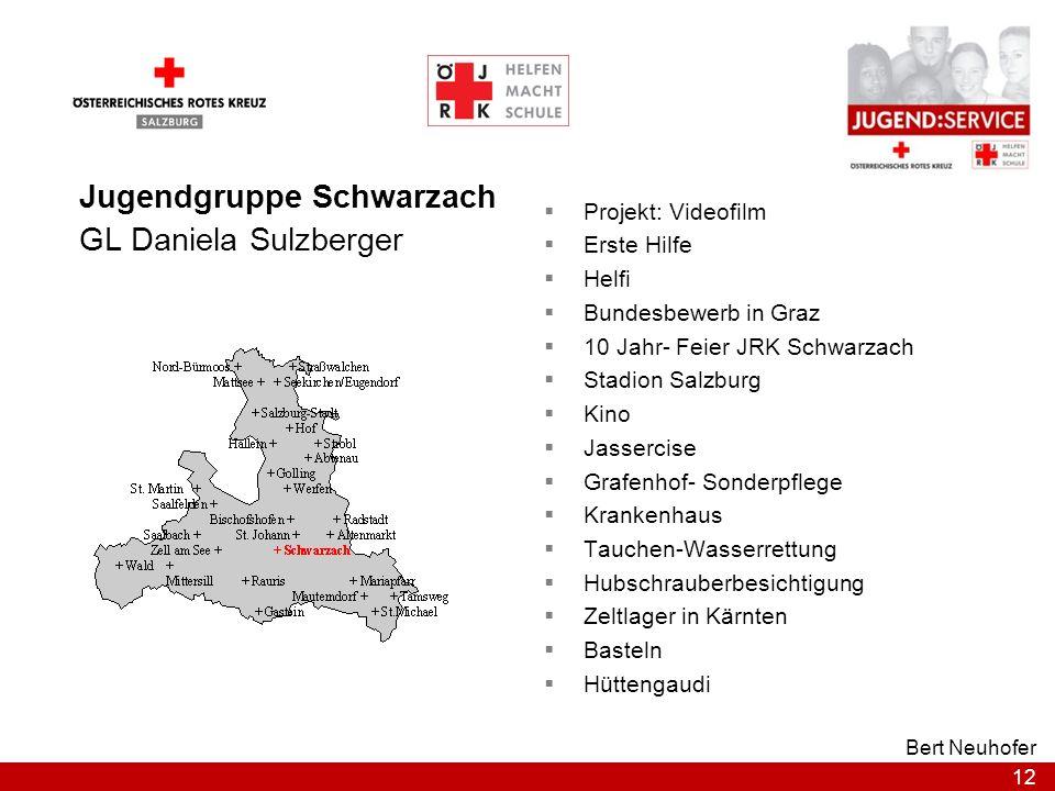 12 Bert Neuhofer Jugendgruppe Schwarzach GL Daniela Sulzberger Projekt: Videofilm Erste Hilfe Helfi Bundesbewerb in Graz 10 Jahr- Feier JRK Schwarzach