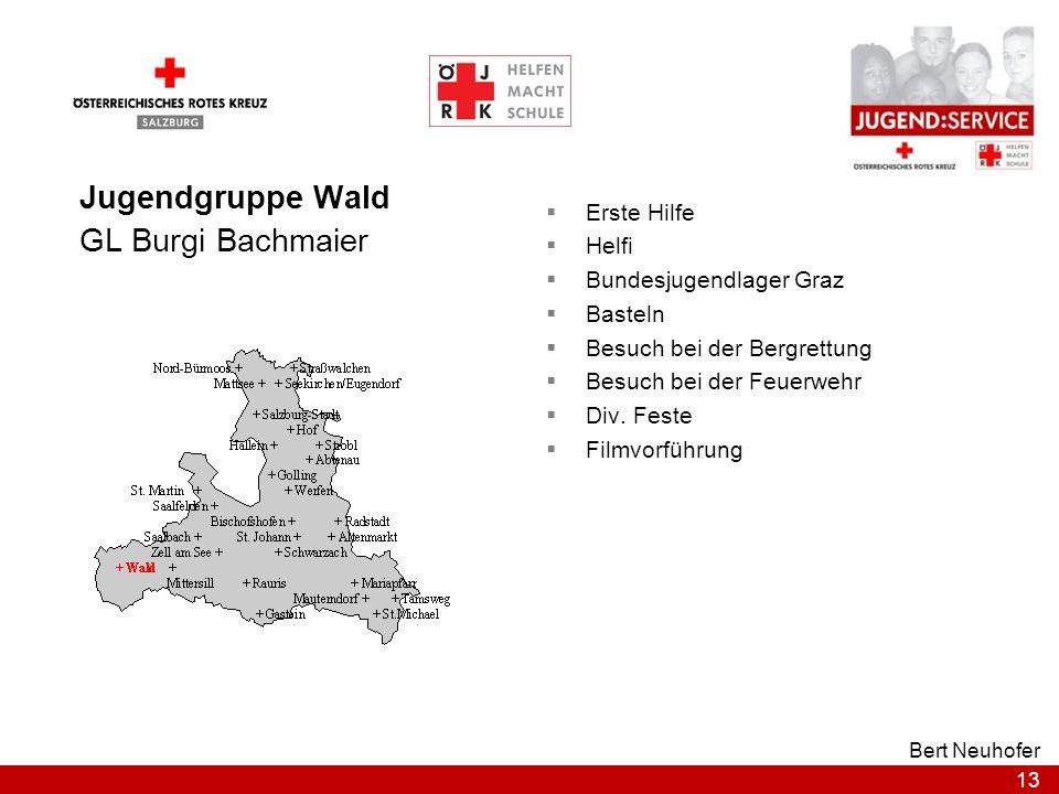 13 Bert Neuhofer Jugendgruppe Wald GL Burgi Bachmaier Erste Hilfe Helfi Bundesjugendlager Graz Basteln Besuch bei der Bergrettung Besuch bei der Feuer