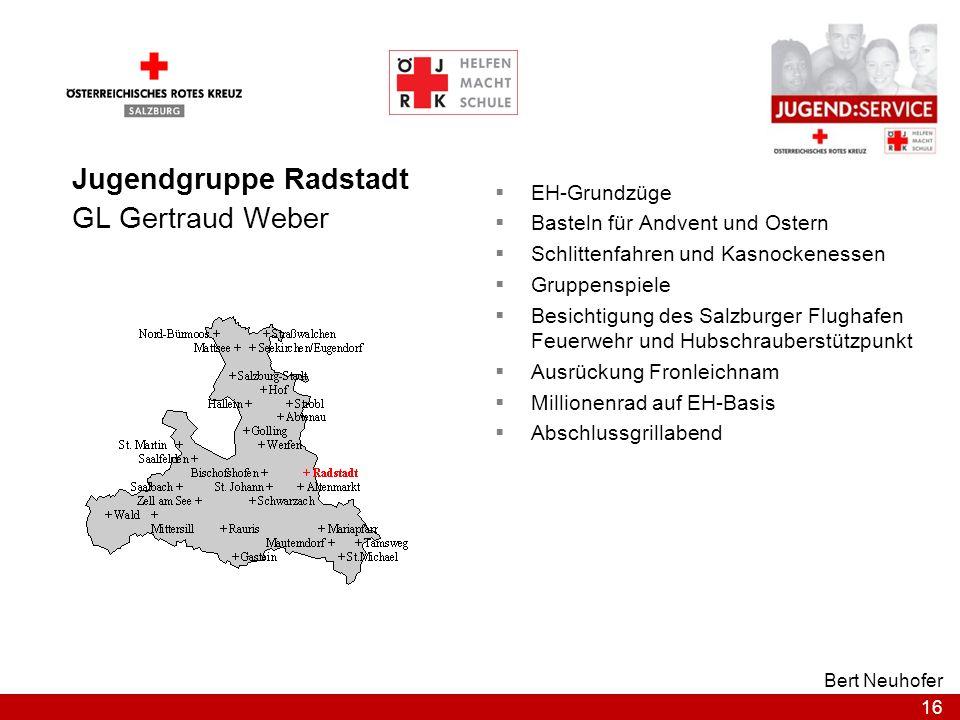 16 Bert Neuhofer Jugendgruppe Radstadt GL Gertraud Weber EH-Grundzüge Basteln für Andvent und Ostern Schlittenfahren und Kasnockenessen Gruppenspiele