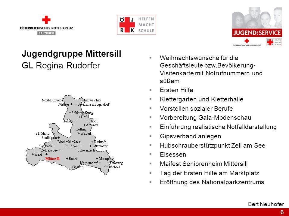 6 Bert Neuhofer Jugendgruppe Mittersill GL Regina Rudorfer Weihnachtswünsche für die Geschäftsleute bzw.Bevölkerung- Visitenkarte mit Notrufnummern un