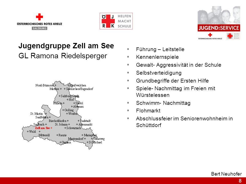 8 Bert Neuhofer Jugendgruppe Zell am See GL Ramona Riedelsperger Führung – Leitstelle Kennenlernspiele Gewalt- Aggressivität in der Schule Selbstverte