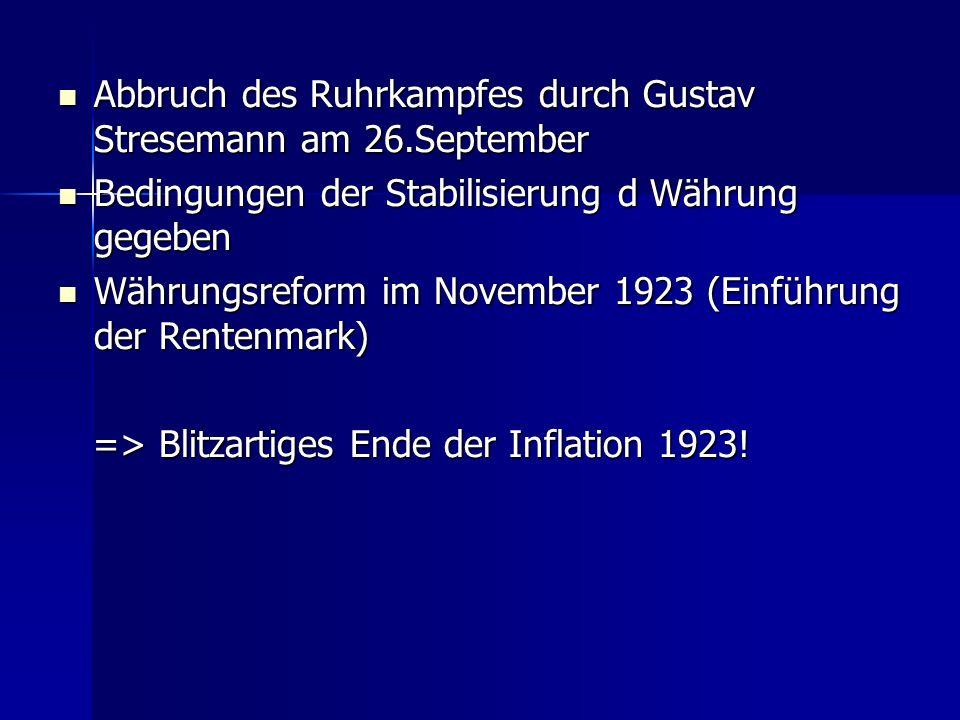 Abbruch des Ruhrkampfes durch Gustav Stresemann am 26.September Abbruch des Ruhrkampfes durch Gustav Stresemann am 26.September Bedingungen der Stabil