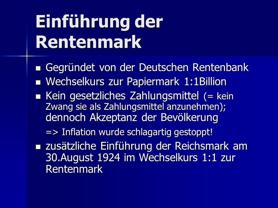 Einführung der Rentenmark Gegründet von der Deutschen Rentenbank Gegründet von der Deutschen Rentenbank Wechselkurs zur Papiermark 1:1Billion Wechselk