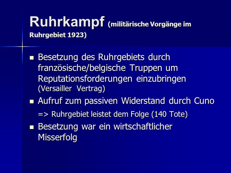 Ruhrkampf (militärische Vorgänge im Ruhrgebiet 1923) Besetzung des Ruhrgebiets durch französische/belgische Truppen um Reputationsforderungen einzubri