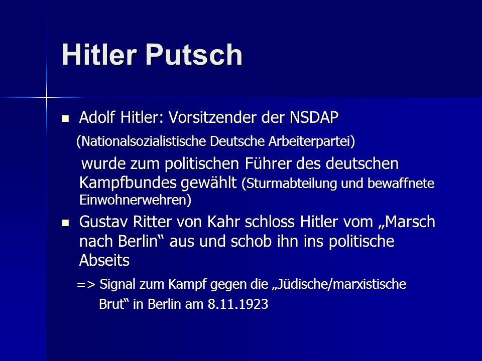 Hitler Putsch Adolf Hitler: Vorsitzender der NSDAP Adolf Hitler: Vorsitzender der NSDAP (Nationalsozialistische Deutsche Arbeiterpartei) (Nationalsozi