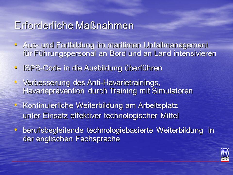 Erforderliche Maßnahmen Aus- und Fortbildung im maritimen Unfallmanagement für Führungspersonal an Bord und an Land intensivieren Aus- und Fortbildung