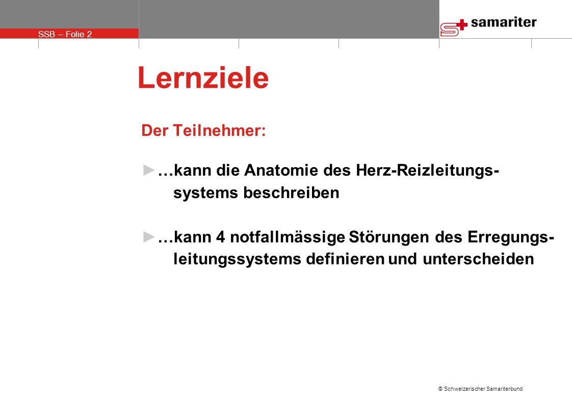 SSB – Folie 2 © Schweizerischer Samariterbund Lernziele Der Teilnehmer: …kann die Anatomie des Herz-Reizleitungs- systems beschreiben …kann 4 notfallm