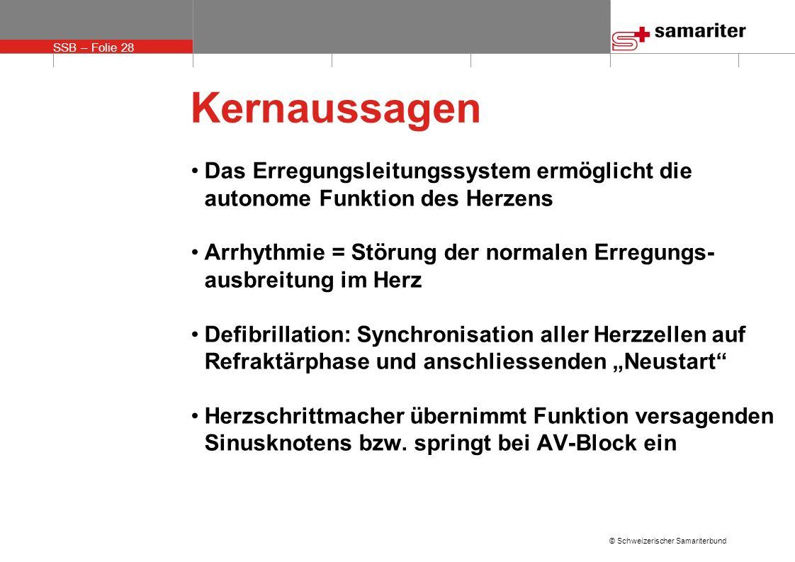 SSB – Folie 28 © Schweizerischer Samariterbund Kernaussagen Das Erregungsleitungssystem ermöglicht die autonome Funktion des Herzens Arrhythmie = Stör