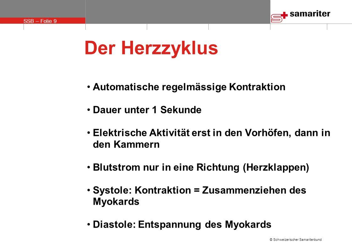 SSB – Folie 9 © Schweizerischer Samariterbund Der Herzzyklus Automatische regelmässige Kontraktion Dauer unter 1 Sekunde Elektrische Aktivität erst in