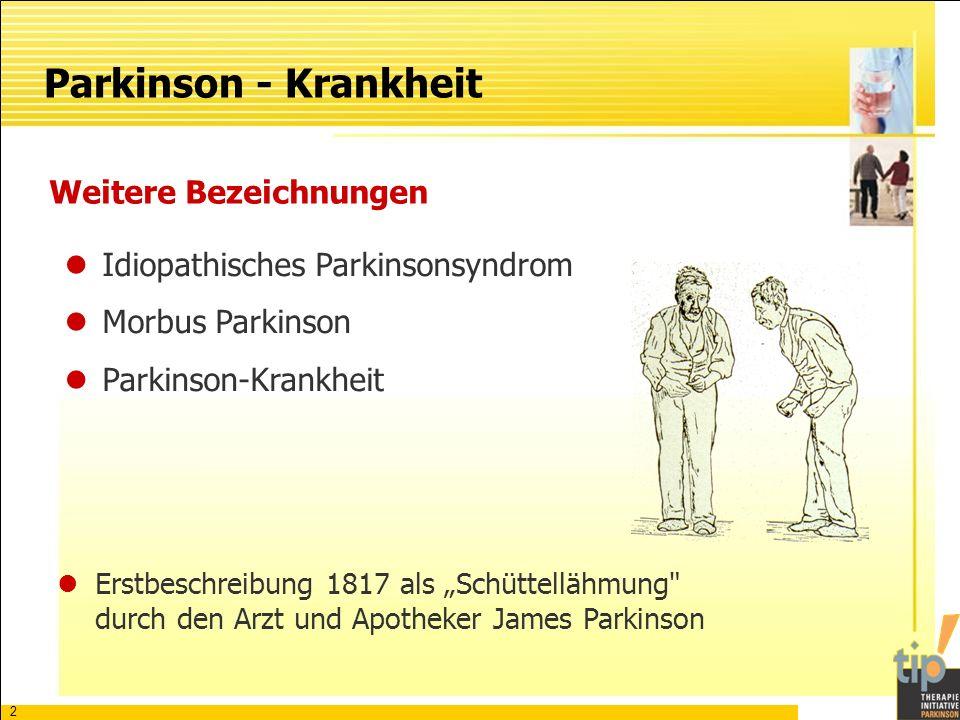 3 Häufigkeit Ca.100.000 - 200.000 Parkinsonpatienten in Deutschland Am häufigsten zwischen dem 55.