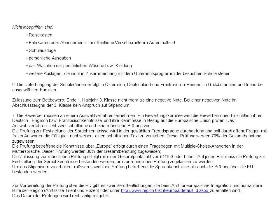 Als Garantie, dass der Empfänger/die Empfängerin des Stipendiums der eingegangenen Verpflichtung ernsthaft nachkommt, muss die Familie eine Kaution von 1.000,00 Euro in zwei Raten zu je 500 Euro an die Region entrichten.