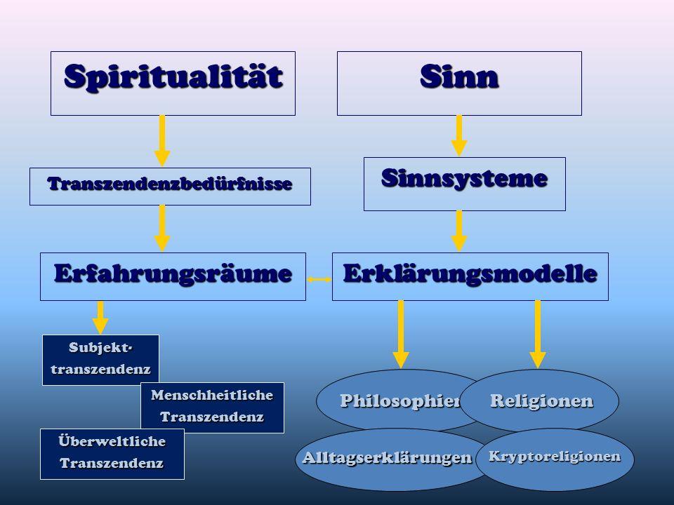 SpiritualitätSinn Sinnsysteme Philosophien Erklärungsmodelle Religionen Erfahrungsräume AlltagserklärungenKryptoreligionen Transzendenzbedürfnisse Sub