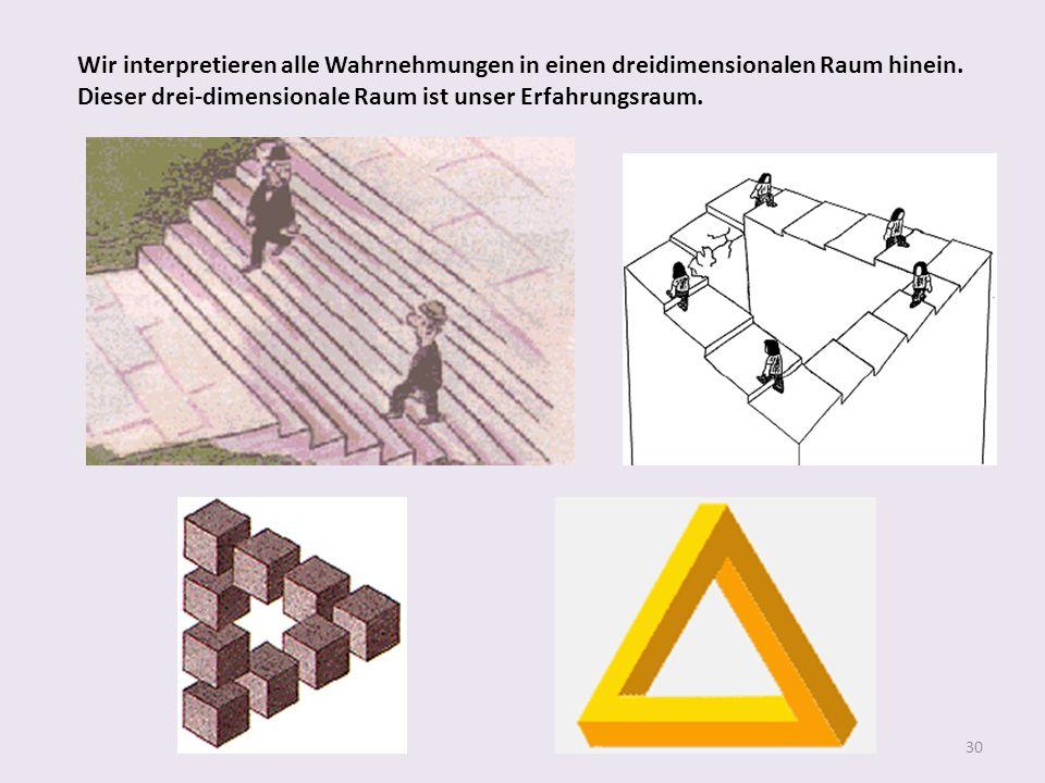 30 Wir interpretieren alle Wahrnehmungen in einen dreidimensionalen Raum hinein. Dieser drei-dimensionale Raum ist unser Erfahrungsraum.