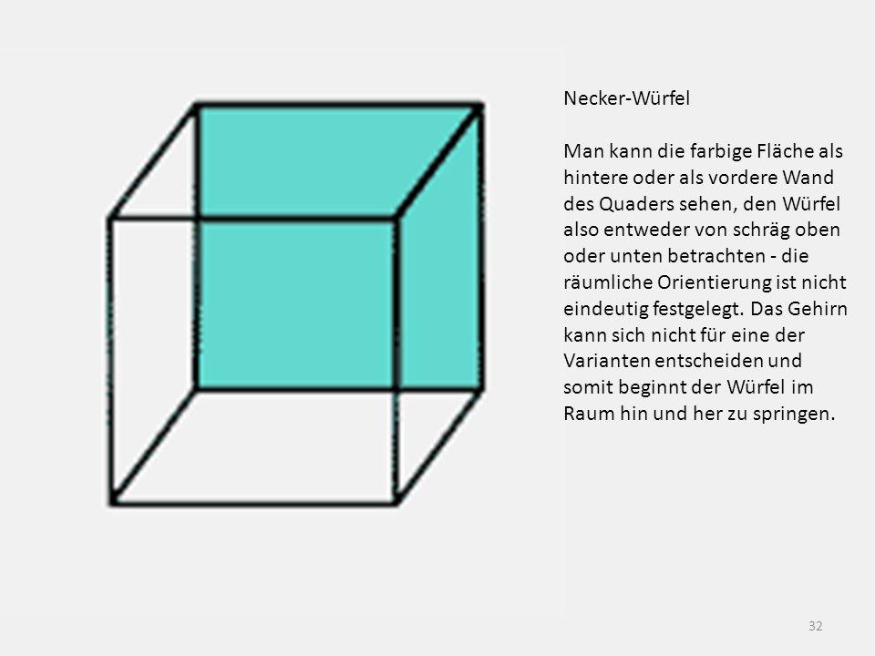 32 Necker-Würfel Man kann die farbige Fläche als hintere oder als vordere Wand des Quaders sehen, den Würfel also entweder von schräg oben oder unten