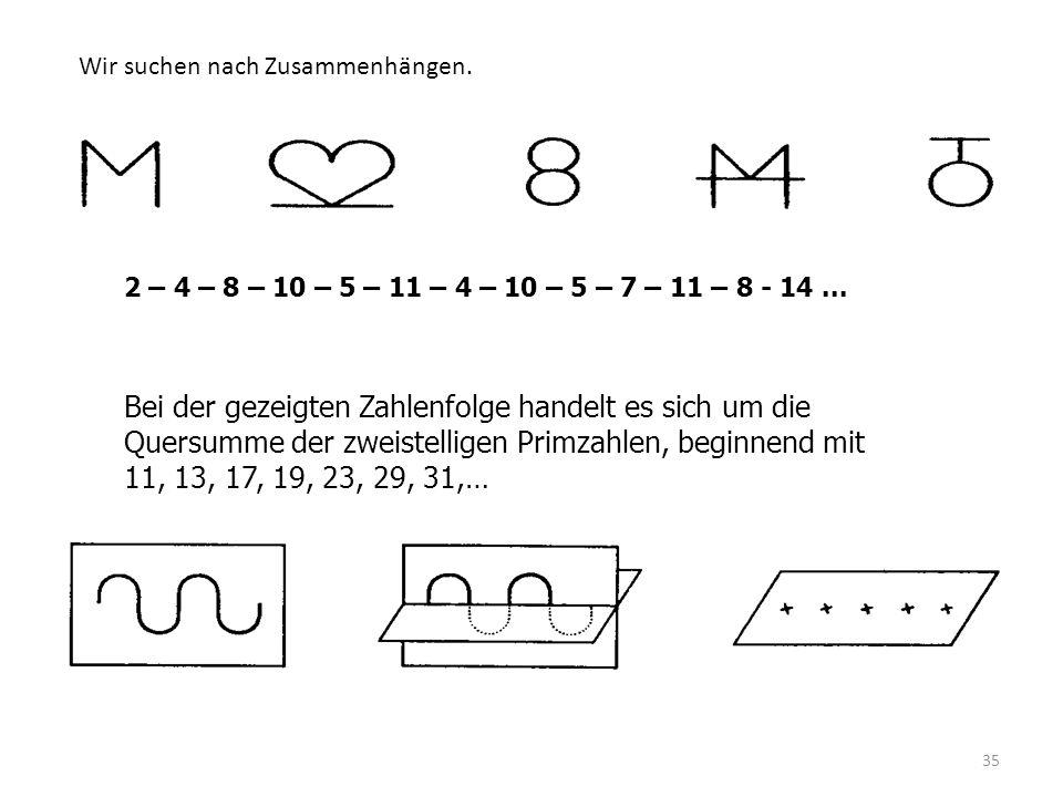 35 2 – 4 – 8 – 10 – 5 – 11 – 4 – 10 – 5 – 7 – 11 – 8 - 14... Bei der gezeigten Zahlenfolge handelt es sich um die Quersumme der zweistelligen Primzahl
