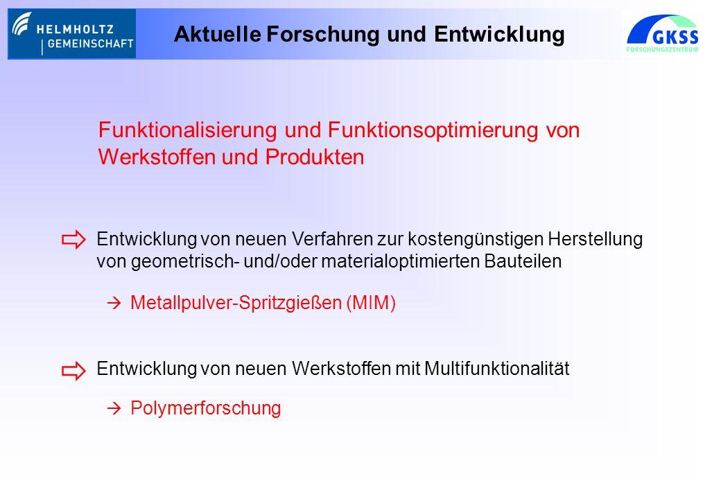Aktuelle Forschung und Entwicklung Funktionalisierung und Funktionsoptimierung von Werkstoffen und Produkten Entwicklung von neuen Verfahren zur kostengünstigen Herstellung von geometrisch- und/oder materialoptimierten Bauteilen Entwicklung von neuen Werkstoffen mit Multifunktionalität Metallpulver-Spritzgießen (MIM) Polymerforschung