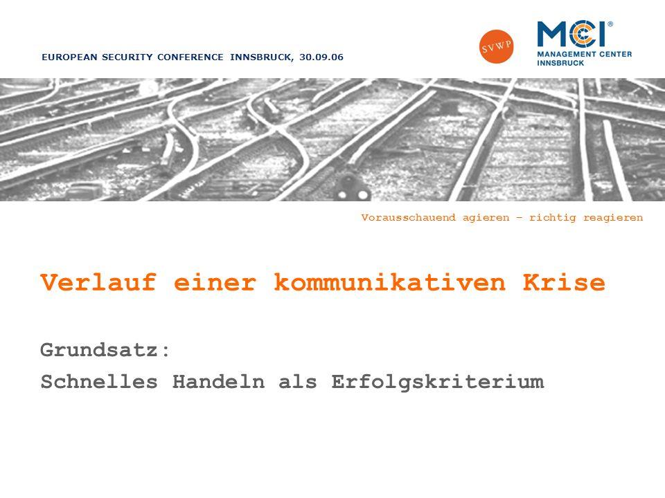 EUROPEAN SECURITY CONFERENCE INNSBRUCK, 30.09.06 Vorausschauend agieren – richtig reagieren Verlauf einer kommunikativen Krise Grundsatz: Schnelles Handeln als Erfolgskriterium
