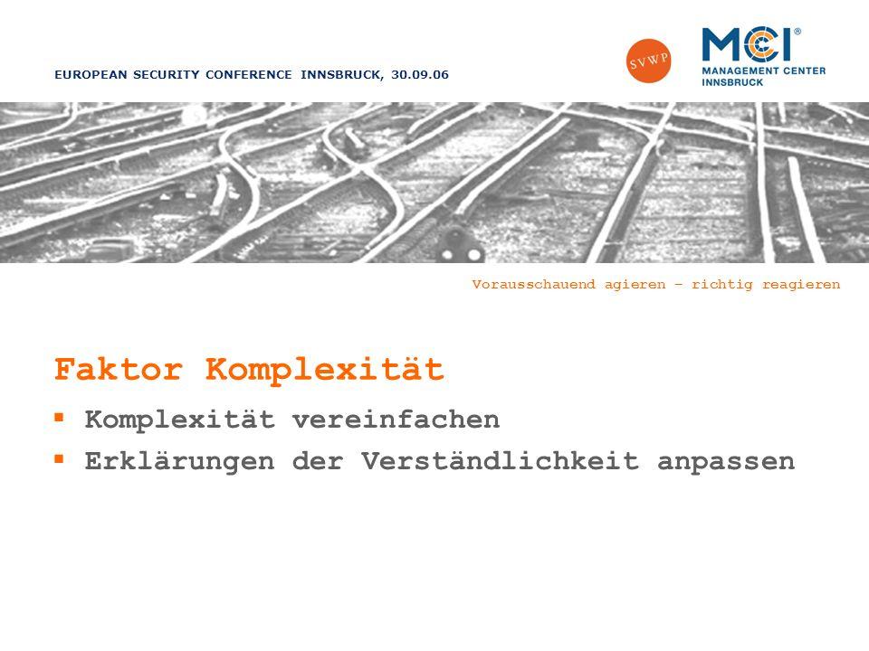 EUROPEAN SECURITY CONFERENCE INNSBRUCK, 30.09.06 Vorausschauend agieren – richtig reagieren Faktor Komplexität Komplexität vereinfachen Erklärungen der Verständlichkeit anpassen