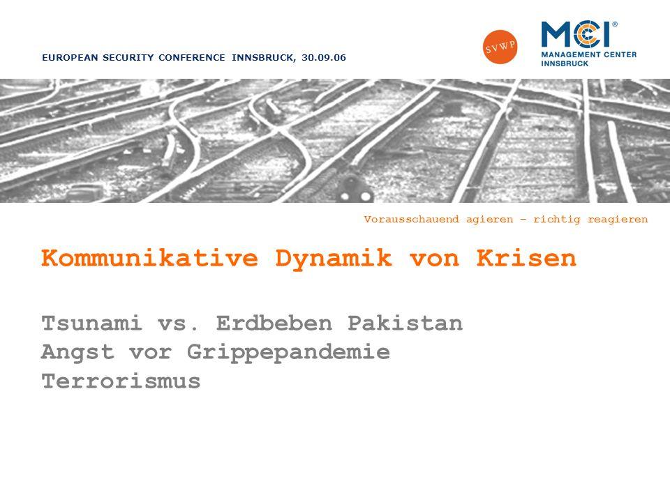 EUROPEAN SECURITY CONFERENCE INNSBRUCK, 30.09.06 Vorausschauend agieren – richtig reagieren Kommunikative Dynamik von Krisen Tsunami vs.