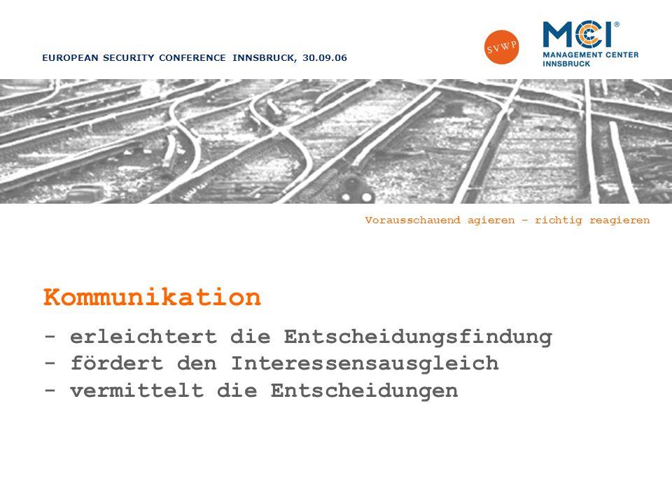 EUROPEAN SECURITY CONFERENCE INNSBRUCK, 30.09.06 Vorausschauend agieren – richtig reagieren Kommunikation - erleichtert die Entscheidungsfindung - fördert den Interessensausgleich - vermittelt die Entscheidungen