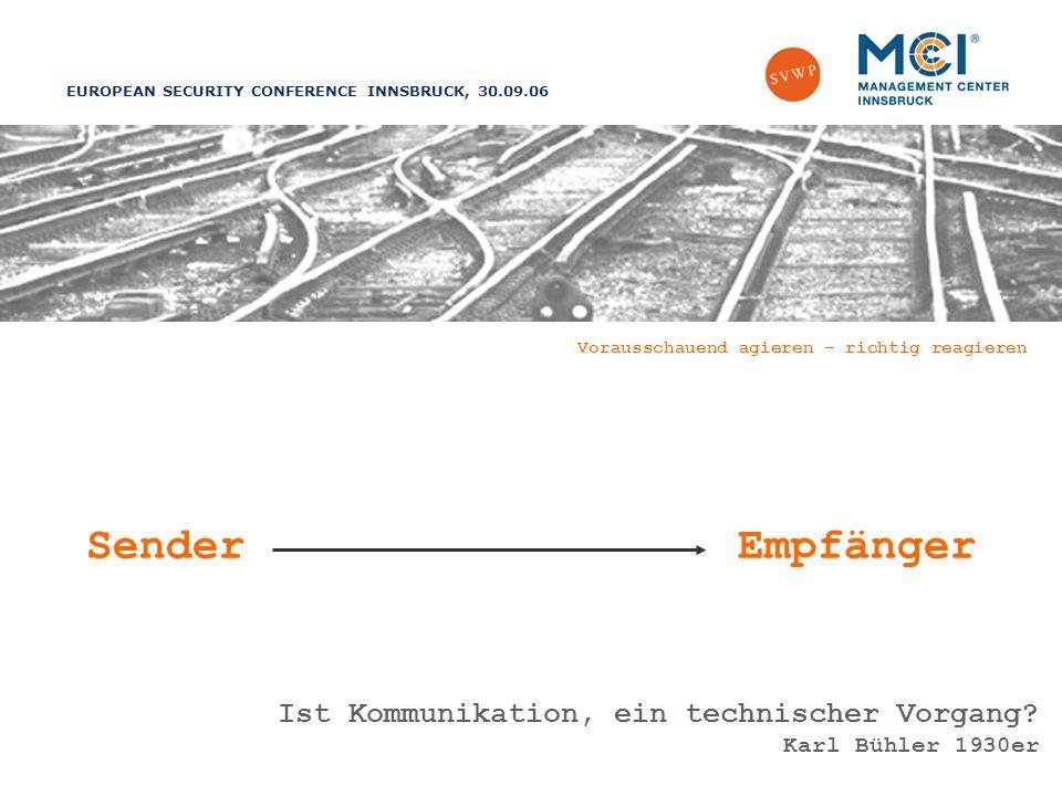 EUROPEAN SECURITY CONFERENCE INNSBRUCK, 30.09.06 Vorausschauend agieren – richtig reagieren SenderEmpfänger Ist Kommunikation, ein technischer Vorgang.