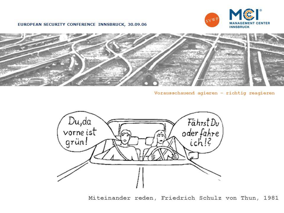 EUROPEAN SECURITY CONFERENCE INNSBRUCK, 30.09.06 Vorausschauend agieren – richtig reagieren Miteinander reden, Friedrich Schulz von Thun, 1981
