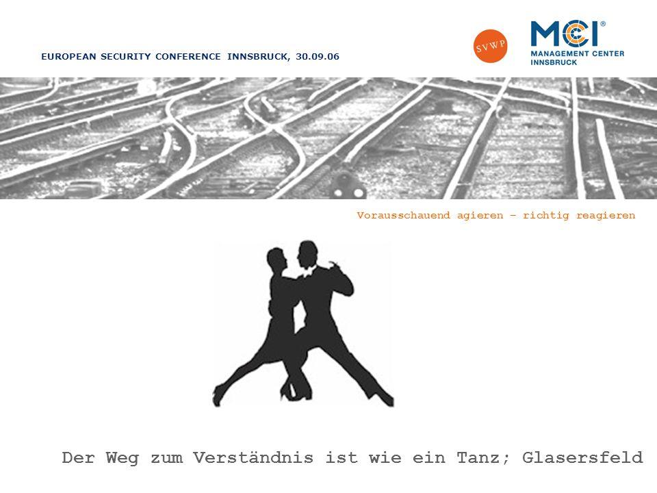 EUROPEAN SECURITY CONFERENCE INNSBRUCK, 30.09.06 Vorausschauend agieren – richtig reagieren Der Weg zum Verständnis ist wie ein Tanz; Glasersfeld