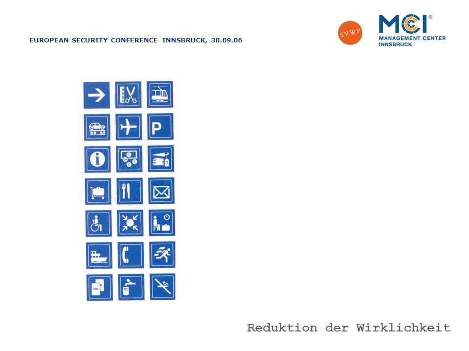 EUROPEAN SECURITY CONFERENCE INNSBRUCK, 30.09.06 Vorausschauend agieren – richtig reagieren Reduktion der Wirklichkeit