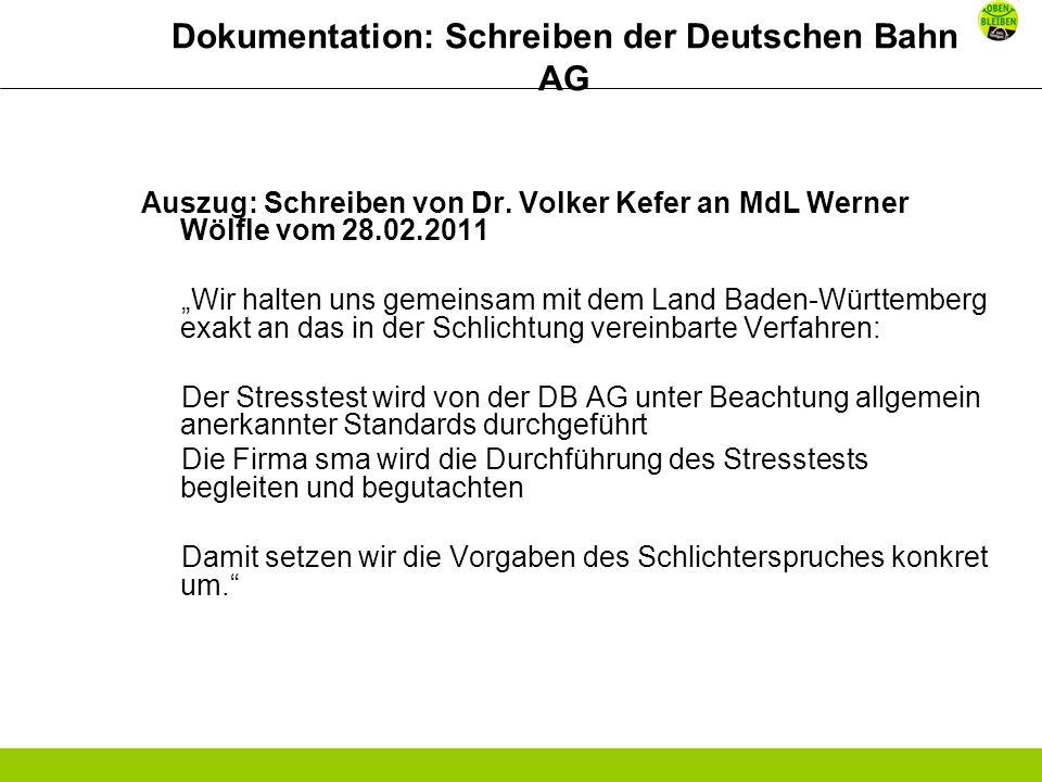 Dokumentation: Schreiben der Deutschen Bahn AG Auszug: Schreiben von Dr.