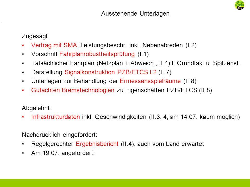 Ausstehende Unterlagen Zugesagt: Vertrag mit SMA, Leistungsbeschr.