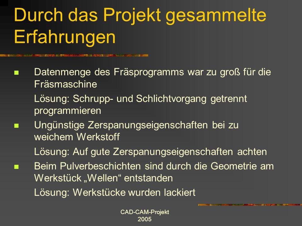 CAD-CAM-Projekt 2005 Durch das Projekt gesammelte Erfahrungen Datenmenge des Fräsprogramms war zu groß für die Fräsmaschine Lösung: Schrupp- und Schli