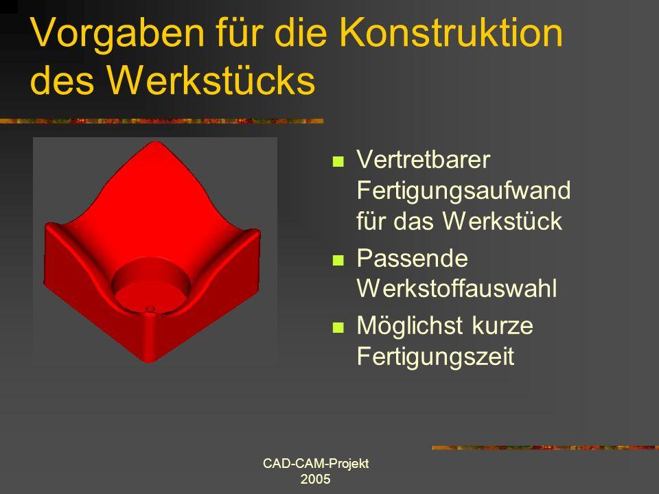 CAD-CAM-Projekt 2005 Vorgaben für die Konstruktion des Werkstücks Vertretbarer Fertigungsaufwand für das Werkstück Passende Werkstoffauswahl Möglichst