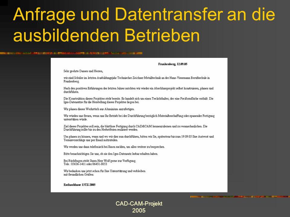 CAD-CAM-Projekt 2005 Anfrage und Datentransfer an die ausbildenden Betrieben