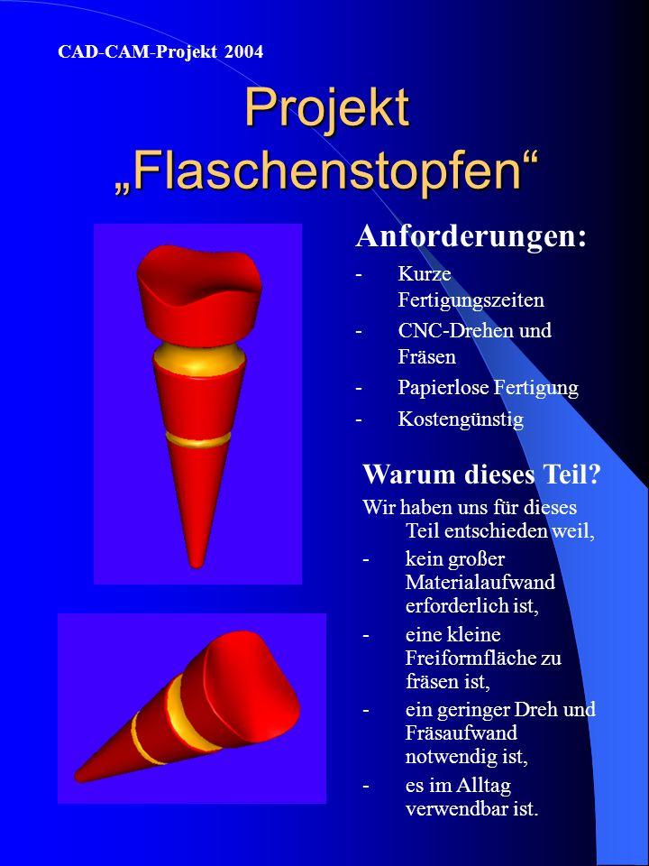 Projekt Flaschenstopfen Anforderungen: -Kurze Fertigungszeiten -CNC-Drehen und Fräsen -Papierlose Fertigung -Kostengünstig CAD-CAM-Projekt 2004 Warum dieses Teil.