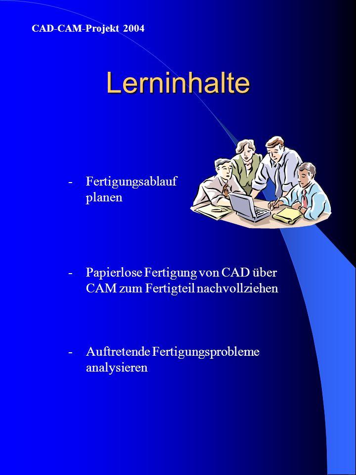 Lerninhalte -Fertigungsablauf planen CAD-CAM-Projekt 2004 -Papierlose Fertigung von CAD über CAM zum Fertigteil nachvollziehen -Auftretende Fertigungsprobleme analysieren