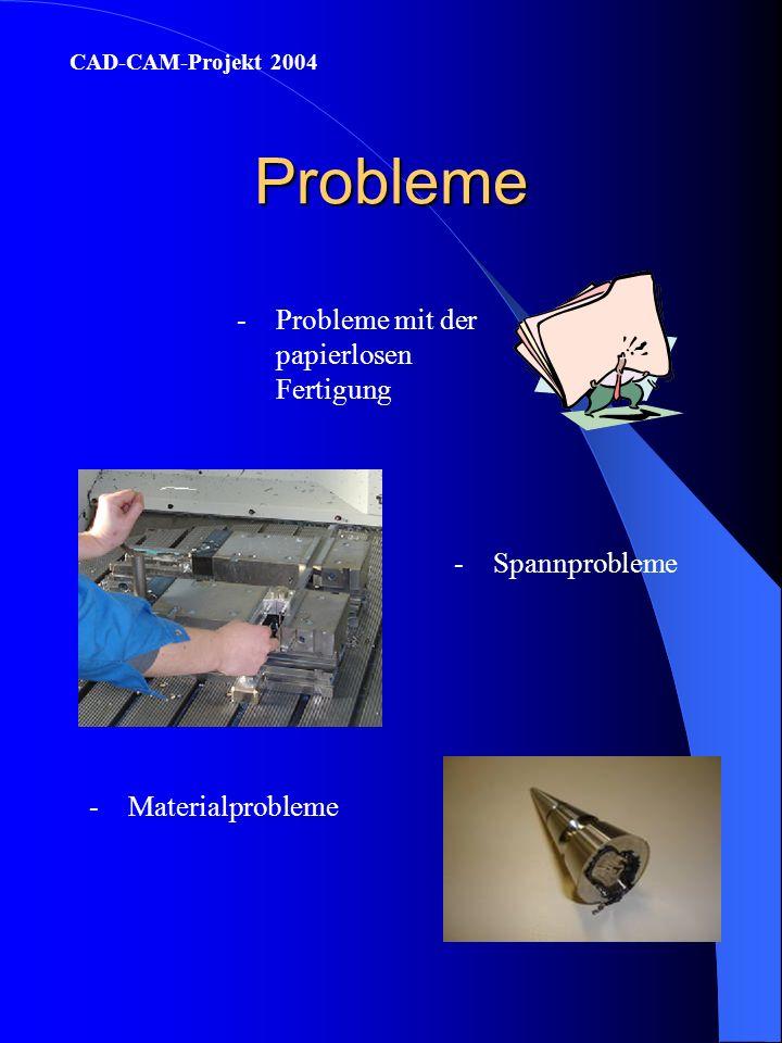 Lerninhalte -Fertigungsablauf planen CAD-CAM-Projekt 2004 -Papierlose Fertigung von CAD über CAM zum Fertigteil nachvollziehen -Auftretende Fertigungs